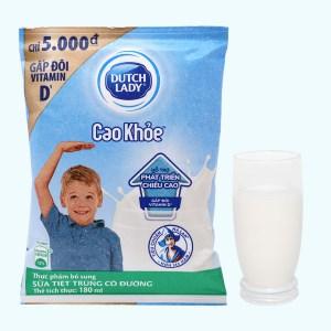 Sữa tiệt trùng có đường Dutch Lady Cao khoẻ bịch 180ml
