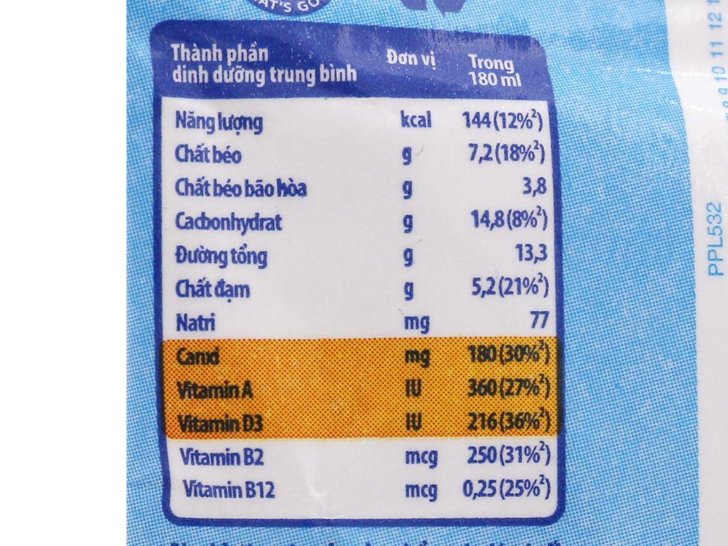 Thùng 24 bịch sữa tiệt trùng có đường Dutch Lady Cao Khoẻ 180ml 4