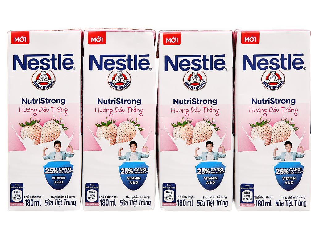 Lốc 4 hộp sữa tiệt trùng hương dâu trắng Nestlé NutriStrong 180ml 1