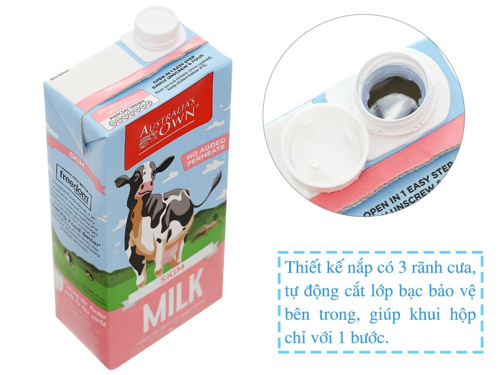 Thùng 12 hộp sữa tươi tách béo không đường Australia's Own 1 lít 4