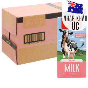 Thùng 12 hộp sữa tươi tách béo không đường Australia's Own 1 lít