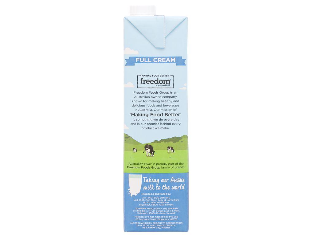 Sữa tươi nguyên kem không đường Australia's Own hộp 1 lít 6