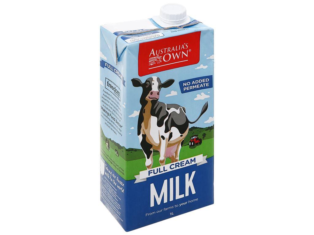 Sữa tươi nguyên kem không đường Australia's Own hộp 1 lít 1