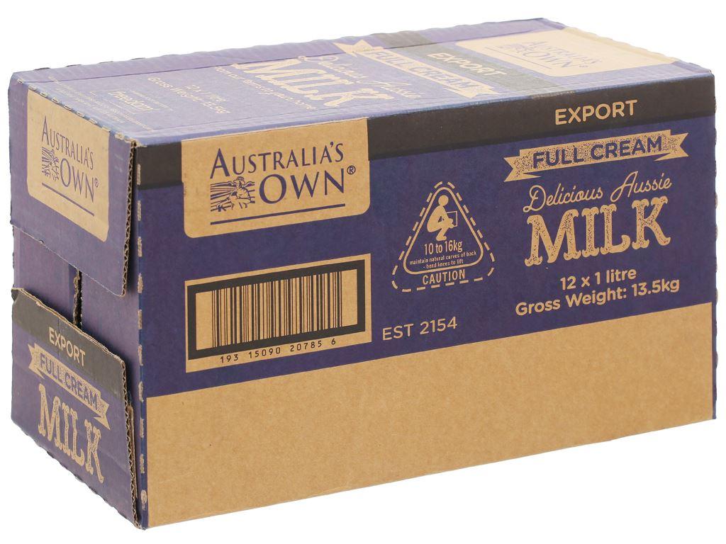Thùng 12 hộp sữa tươi nguyên kem không đường Australia's Own 1 lít 1