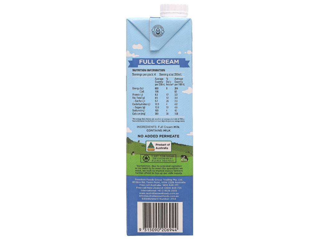 Thùng 12 hộp sữa tươi nguyên kem không đường Australia's Own 1 lít 6