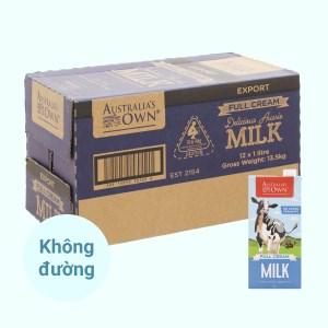 Thùng 12 hộp sữa tươi nguyên kem không đường Australia's Own 1 lít