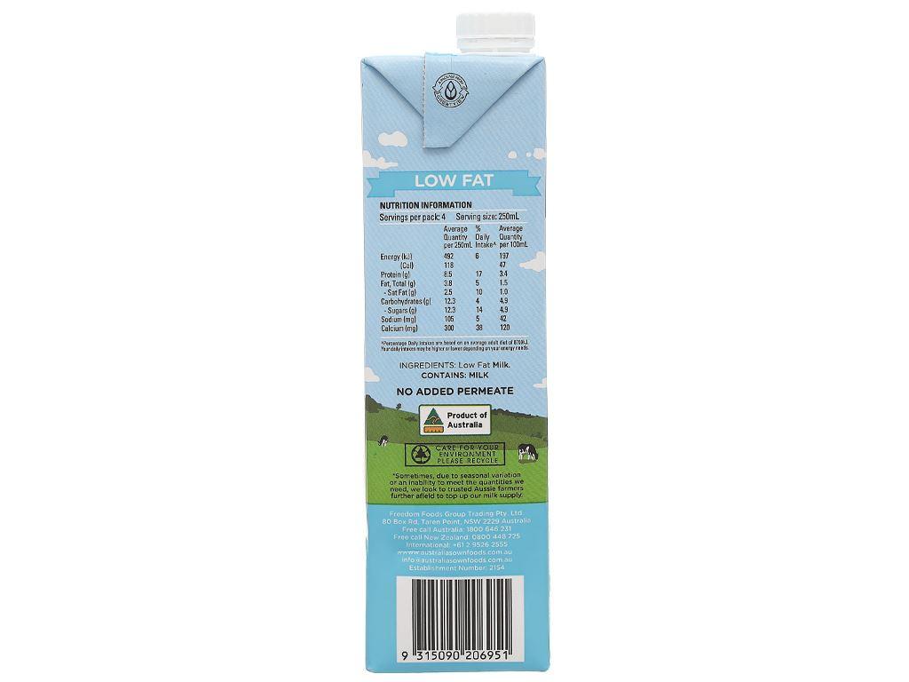 Sữa tươi ít béo Australia's Own hộp 1 lít 5
