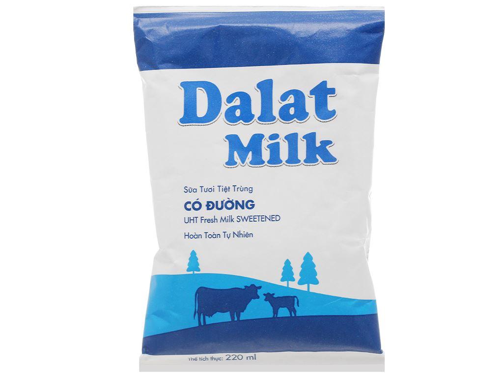 Sữa tươi tiệt trùng có đường Dalat Milk bịch 220ml 1