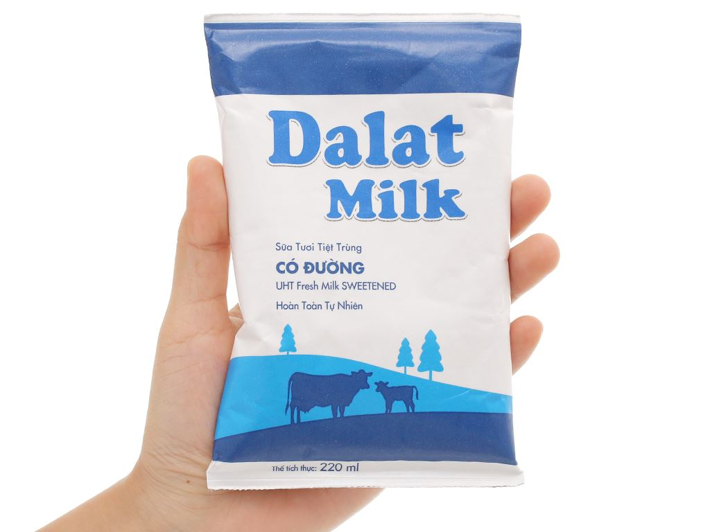 Sữa tươi tiệt trùng có đường Dalat Milk bịch 220ml 4