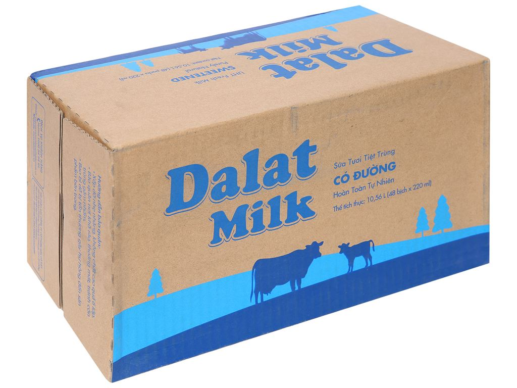 Thùng 48 bịch sữa tươi tiệt trùng có đường Dalat Milk 220ml 1