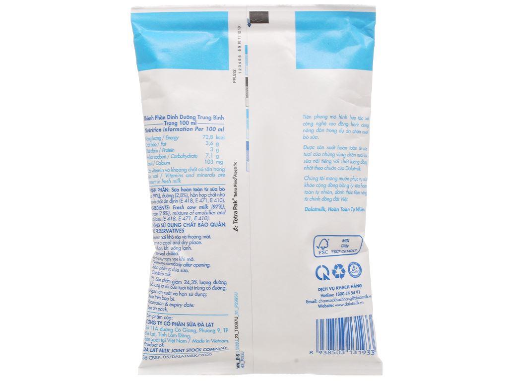 Sữa tươi tiệt trùng ít đường Dalat Milk bịch 220ml 2