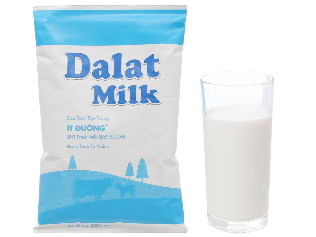 Sữa tươi tiệt trùng ít đường Dalat Milk bịch 220ml 5