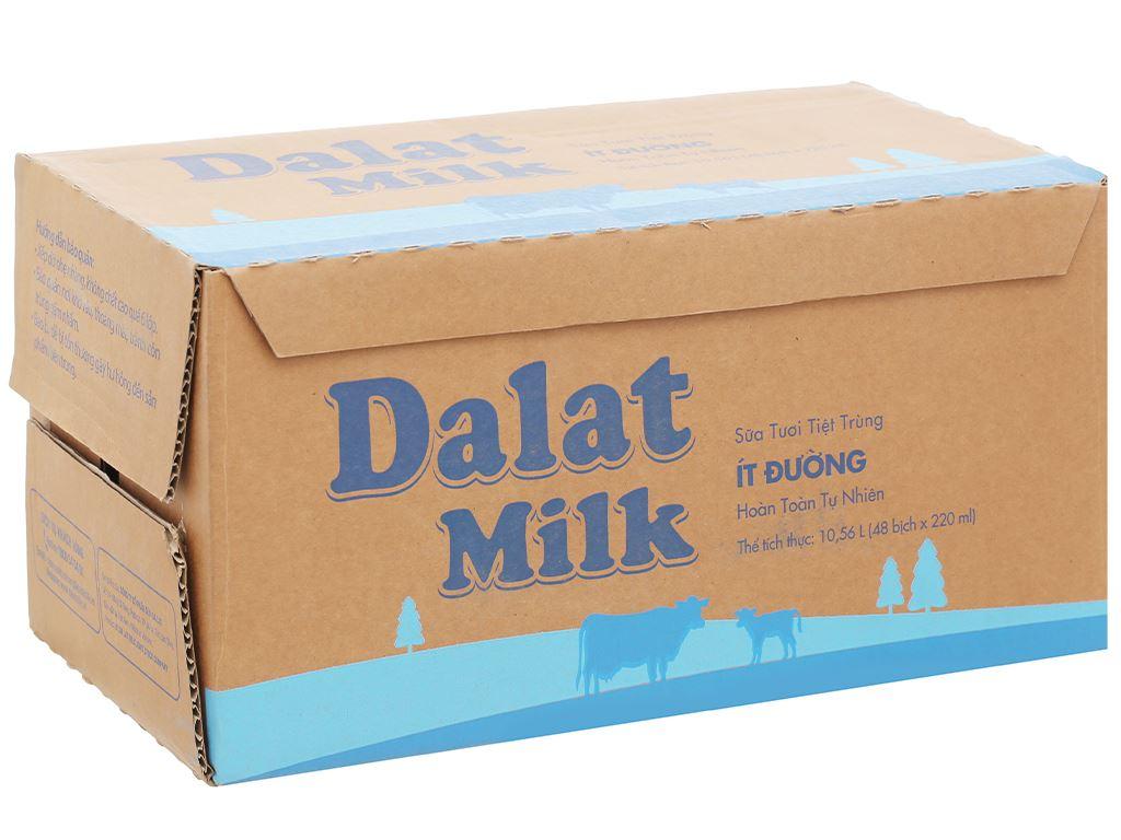 Thùng 48 bịch sữa tươi tiệt trùng ít đường Dalat Milk 220ml 1