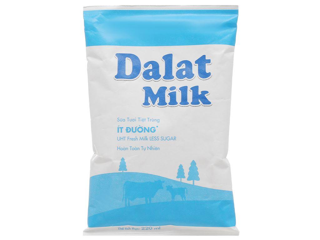 Thùng 48 bịch sữa tươi tiệt trùng ít đường Dalat Milk 220ml 2