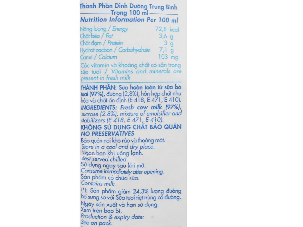 Thùng 48 bịch sữa tươi tiệt trùng ít đường Dalat Milk 220ml 4