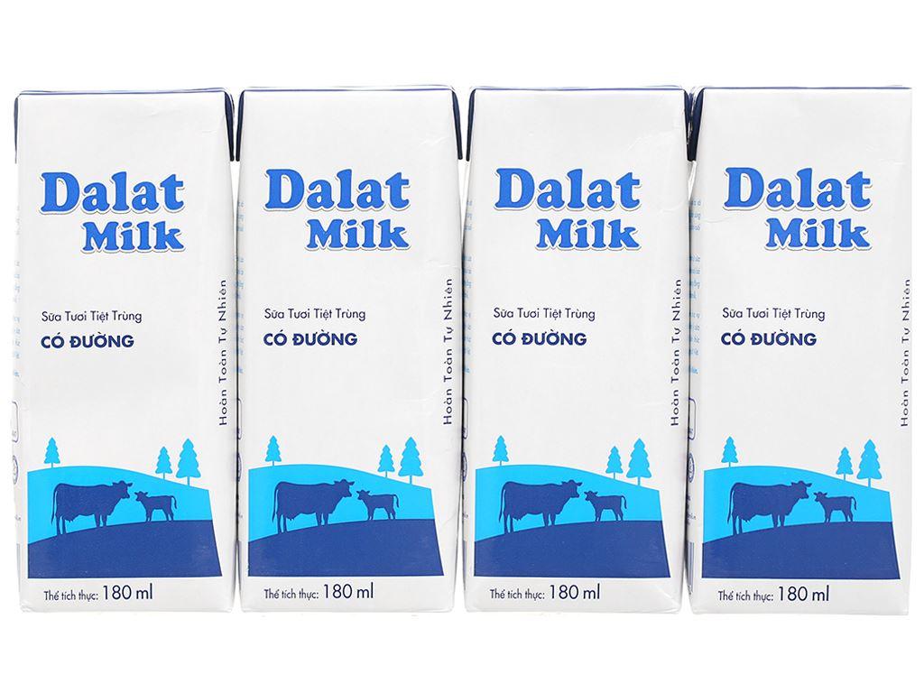 Lốc 4 hộp sữa tươi tiệt trùng có đường Dalat Milk 180ml 1