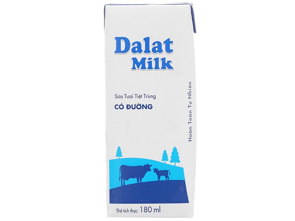Lốc 4 hộp sữa tươi tiệt trùng có đường Dalat Milk 180ml 3