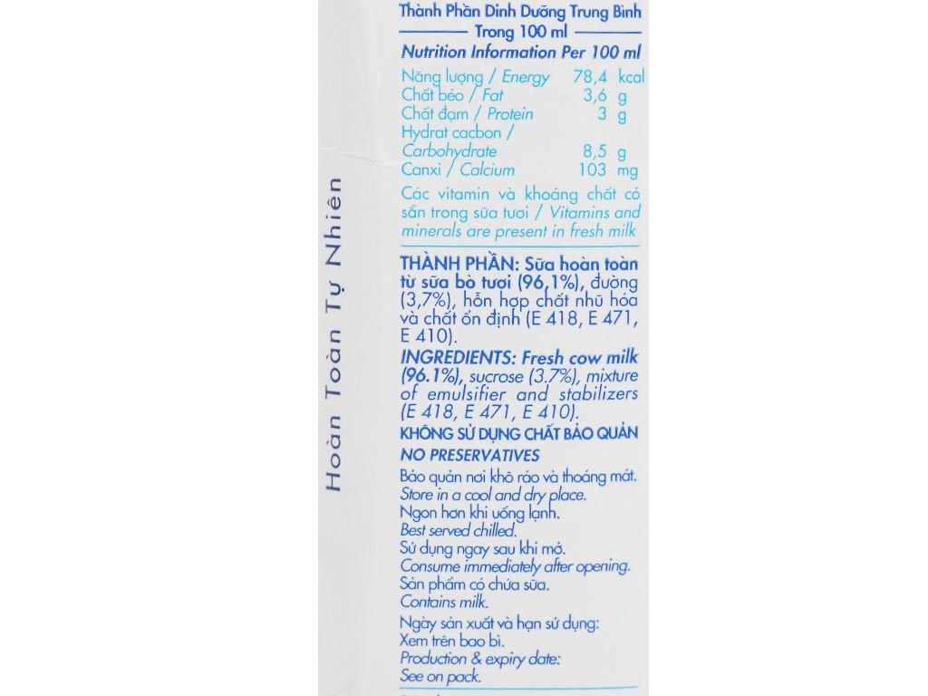 Lốc 4 hộp sữa tươi tiệt trùng có đường Dalat Milk 180ml 7