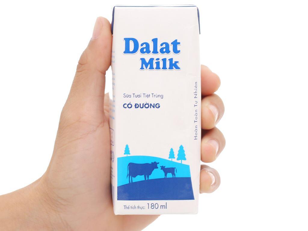 Lốc 4 hộp sữa tươi tiệt trùng có đường Dalat Milk 180ml 8