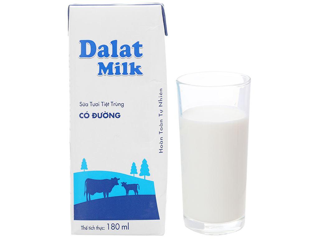 Lốc 4 hộp sữa tươi tiệt trùng có đường Dalat Milk 180ml 9