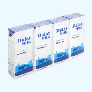 Lốc 4 hộp sữa tươi tiệt trùng có đường Dalat Milk 180ml