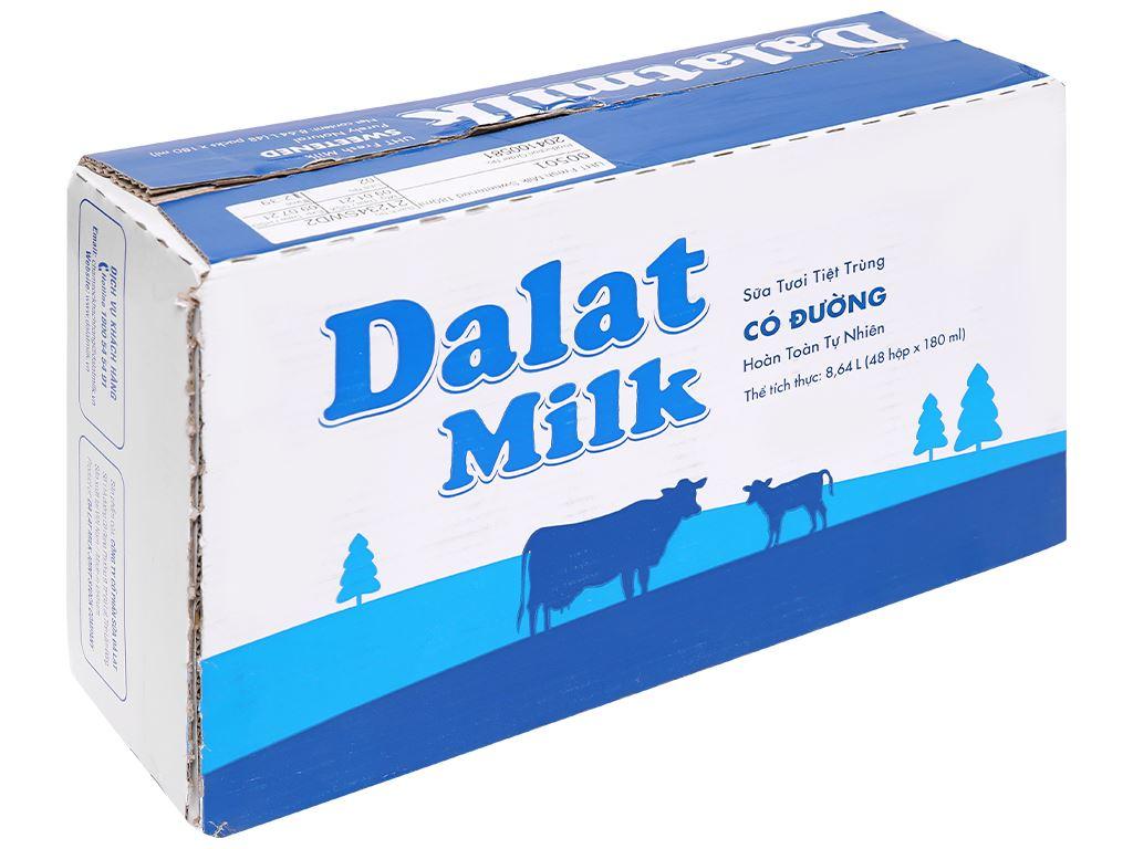 Thùng 48 hộp sữa tươi tiệt trùng có đường Dalat Milk 180ml 1