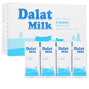 Thùng 48 hộp sữa tươi tiệt trùng ít đường Dalat Milk 180ml