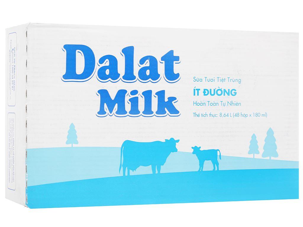 Thùng 48 hộp sữa tươi tiệt trùng ít đường Dalat Milk 180ml 1