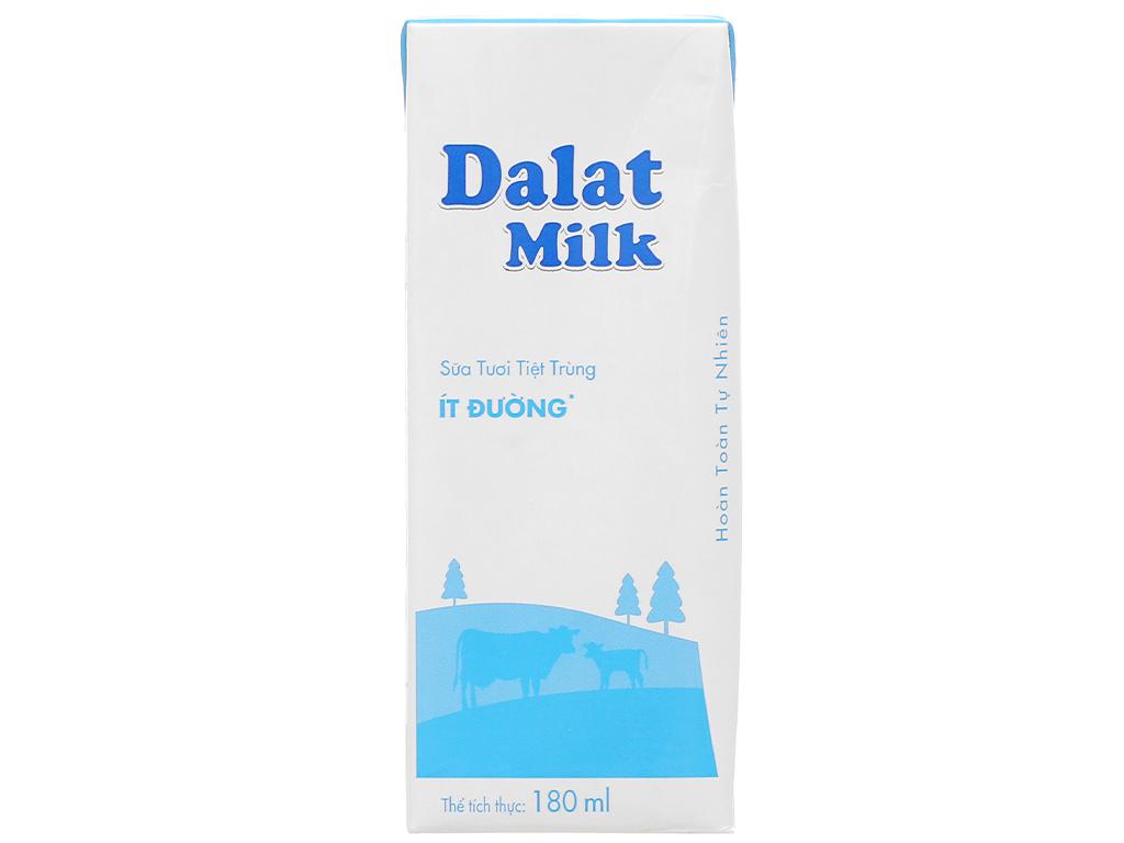 Thùng 48 hộp sữa tươi tiệt trùng ít đường Dalat Milk 180ml 2
