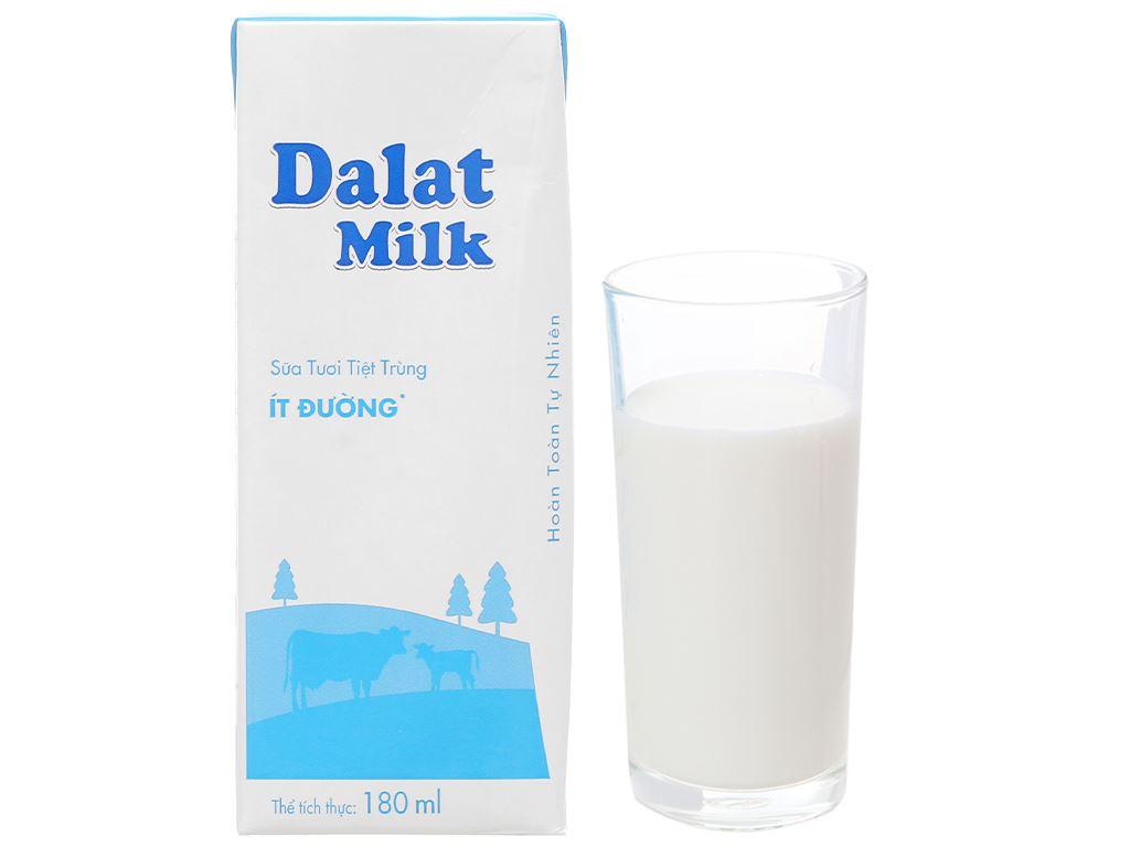 Thùng 48 hộp sữa tươi tiệt trùng ít đường Dalat Milk 180ml 7