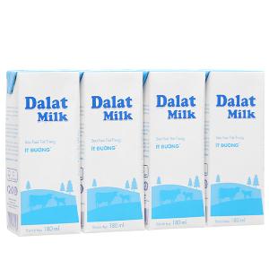 Lốc 4 hộp sữa tươi tiệt trùng ít đường Dalat Milk 180ml