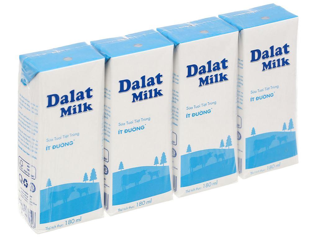 Lốc 4 hộp sữa tươi tiệt trùng ít đường Dalat Milk 180ml 1