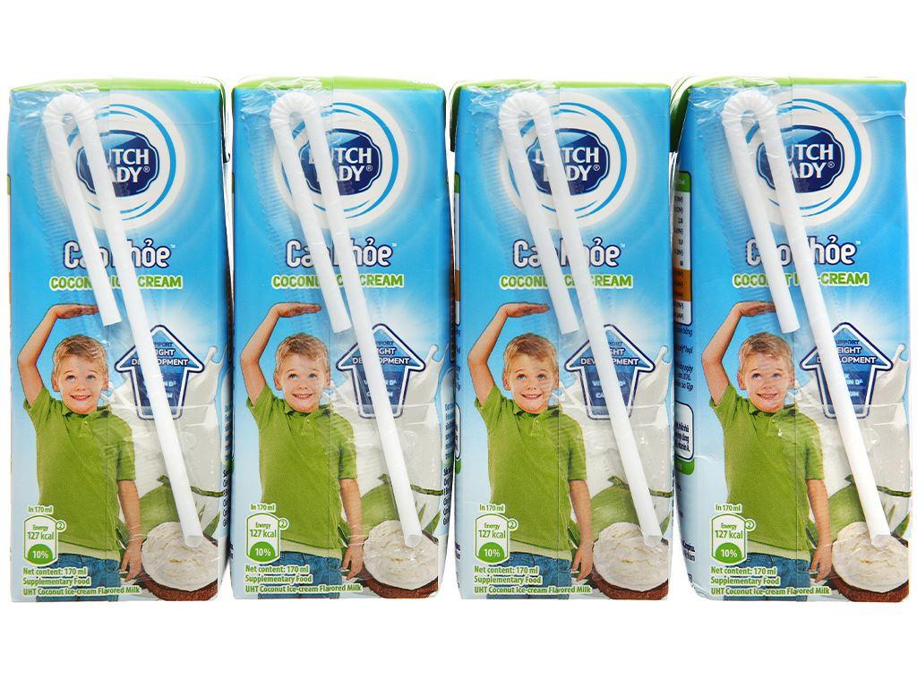 Lốc 4 hộp sữa tiệt trùng hương kem dừa Dutch Lady Cao Khoẻ 170ml 2