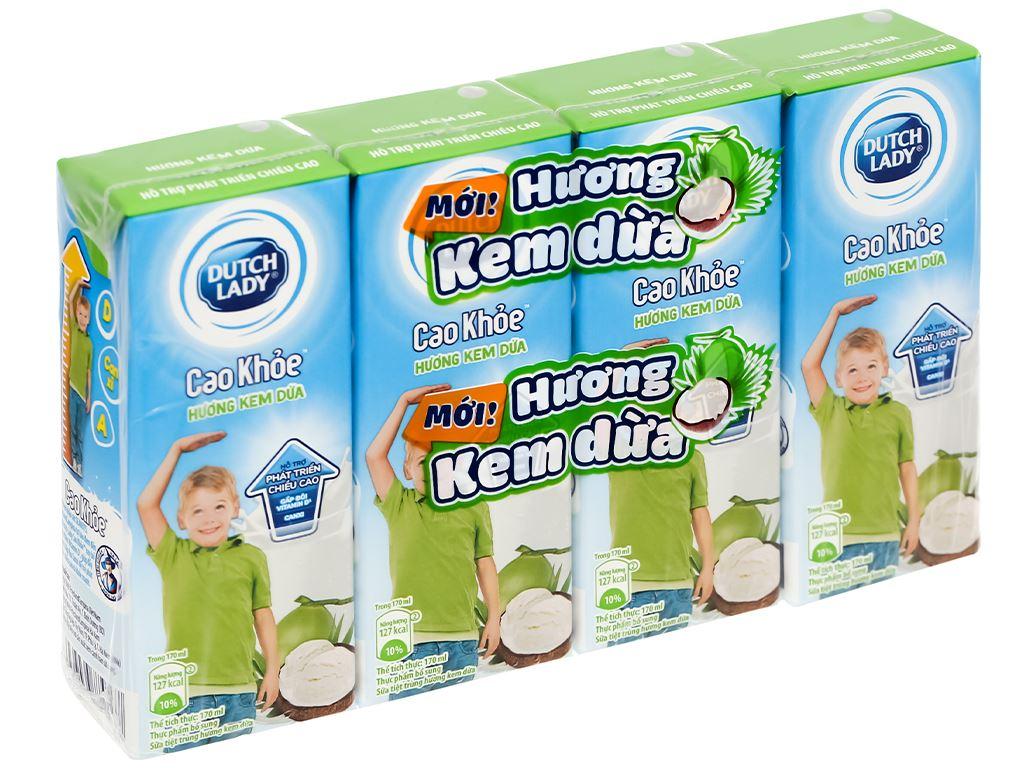 Lốc 4 hộp sữa tiệt trùng hương kem dừa Dutch Lady Cao Khoẻ 170ml 1