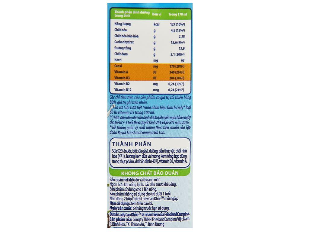 Thùng 48 hộp sữa tiệt trùng hương kem dừa Dutch Lady Cao Khoẻ 170ml 9