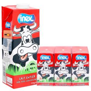 Combo sữa tươi nguyên kem không đường Inex hộp 1 lít và lốc 3 hộp 200ml