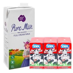 Combo sữa tươi nguyên kem không đường Pure hộp 1 lít và lốc 3 hộp Inex 200ml