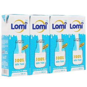 Lốc 4 hộp sữa tươi ít đường Lomi 180ml
