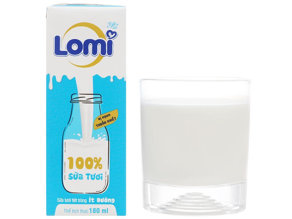 Thùng 48 hộp sữa tươi ít đường Lomi 180ml 8