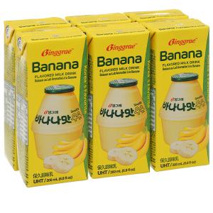 Lốc 6 hộp sữa tươi tiệt trùng hương chuối Binggrae 200ml