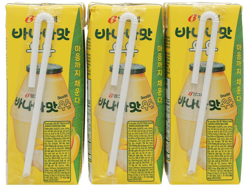 Lốc 6 hộp sữa tươi tiệt trùng hương chuối Binggrae 200ml 2