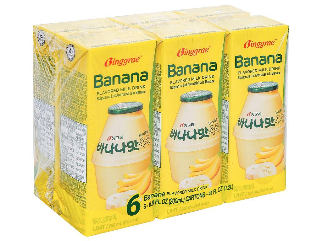 Lốc 6 hộp sữa tươi tiệt trùng hương chuối Binggrae 200ml 1