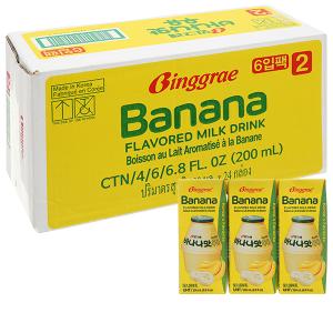 Thùng 24 hộp sữa tươi tiệt trùng hương chuối Binggrae 200ml
