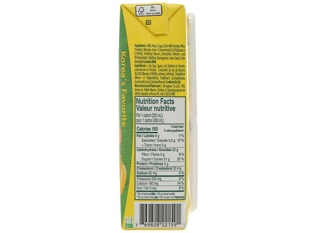 Thùng 24 hộp sữa tươi tiệt trùng hương chuối Binggrae 200ml 4