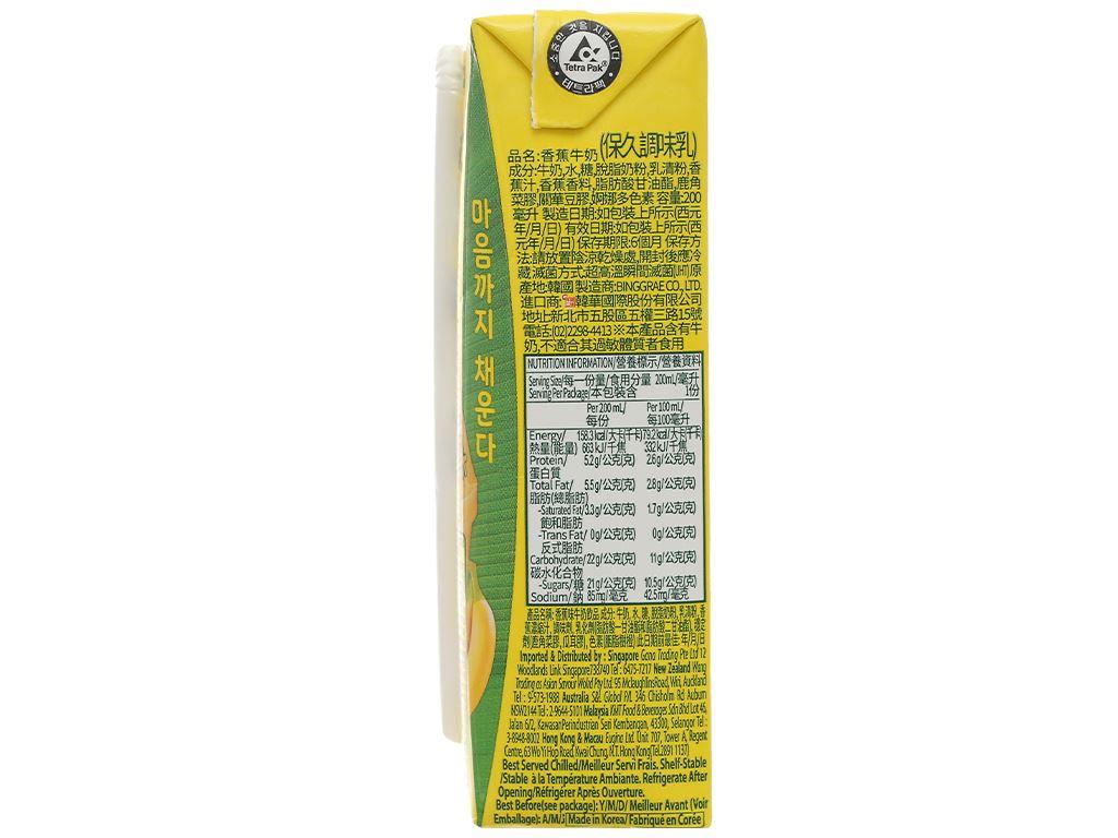 Thùng 24 hộp sữa tươi tiệt trùng hương chuối Binggrae 200ml 5