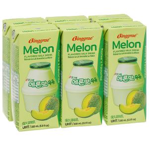 Lốc 6 hộp sữa tươi tiệt trùng hương dưa lưới Binggrae 200ml