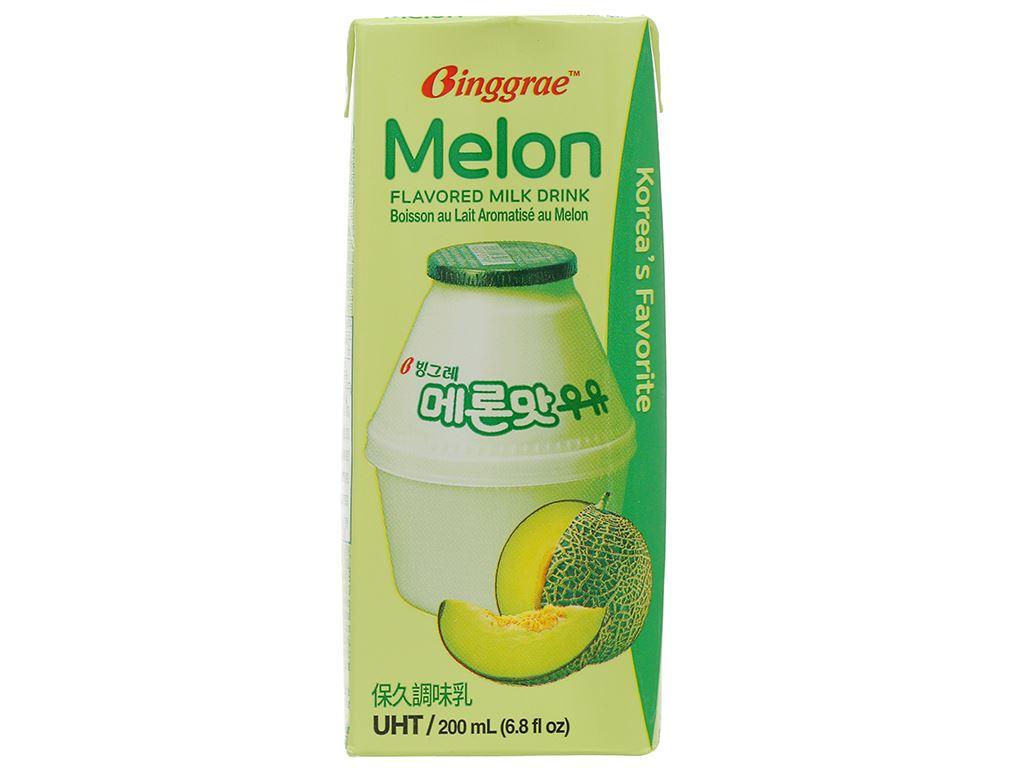 Thùng 24 hộp sữa tươi tiệt trùng hương dưa lưới Binggrae 200ml 2