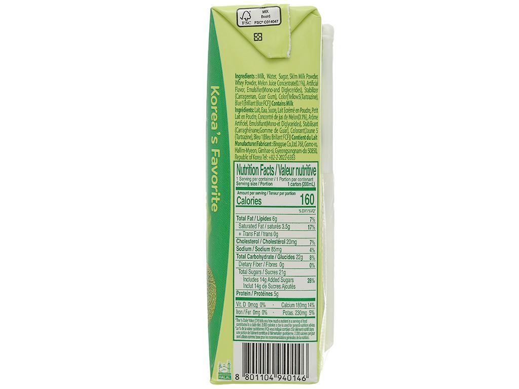 Thùng 24 hộp sữa tươi tiệt trùng hương dưa lưới Binggrae 200ml 5