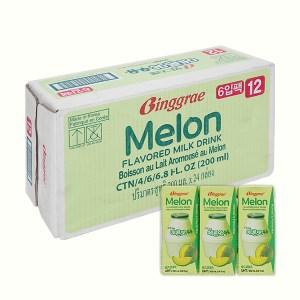 Thùng 24 hộp sữa tươi tiệt trùng hương dưa lưới Binggrae 200ml