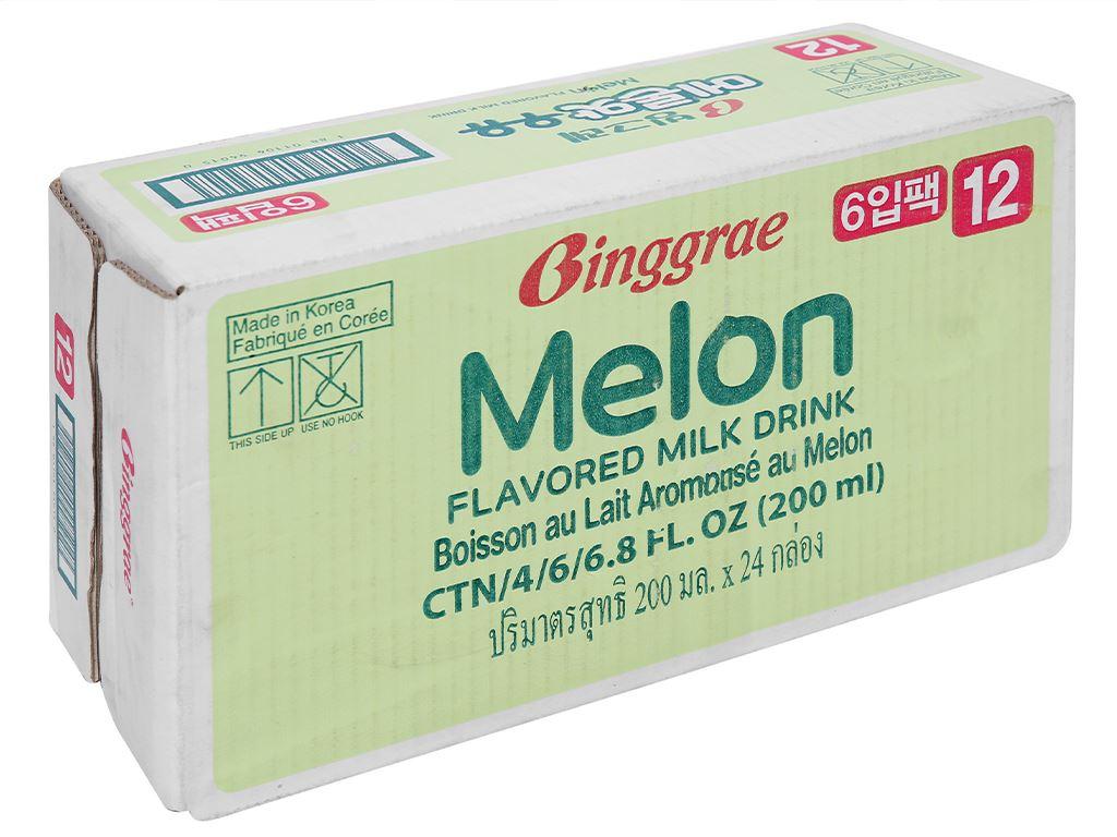 Thùng 24 hộp sữa tươi tiệt trùng hương dưa lưới Binggrae 200ml 1